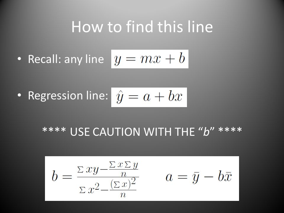 How to find this line Recall: any line Regression line: **** USE CAUTION WITH THE b ****
