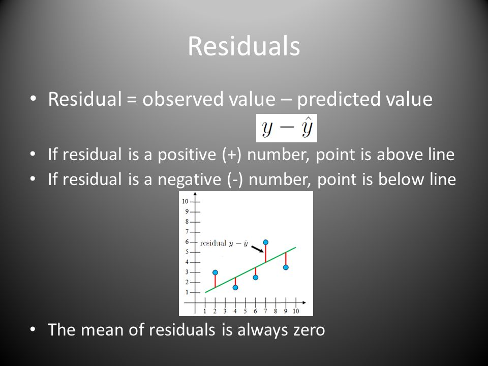 Residuals Residual = observed value – predicted value If residual is a positive (+) number, point is above line If residual is a negative (-) number, point is below line The mean of residuals is always zero