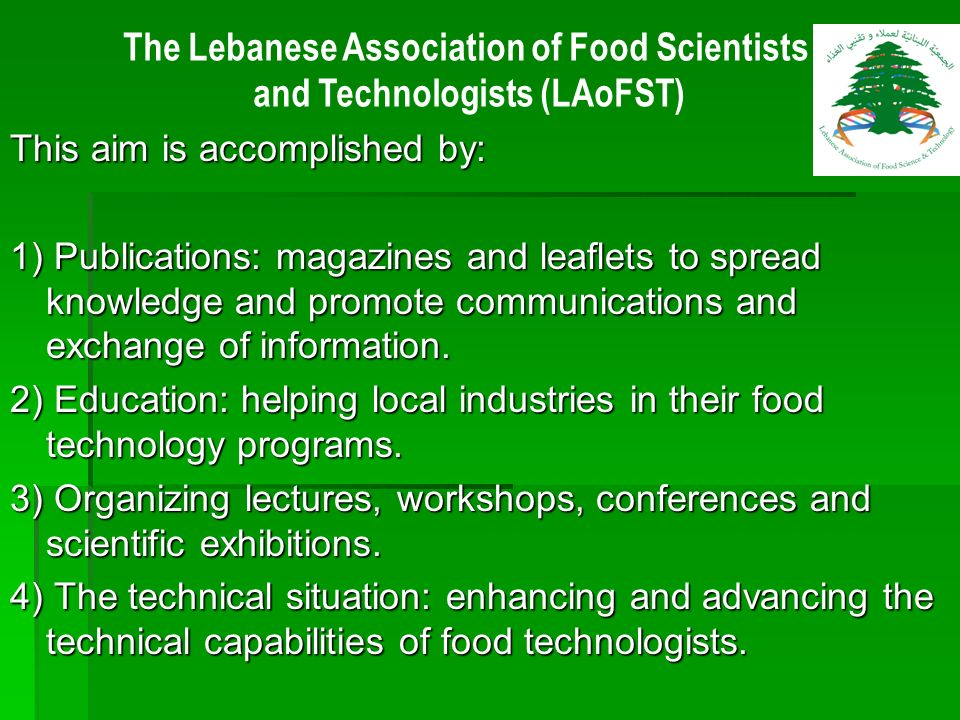 The Lebanese Association of Food Scientists and