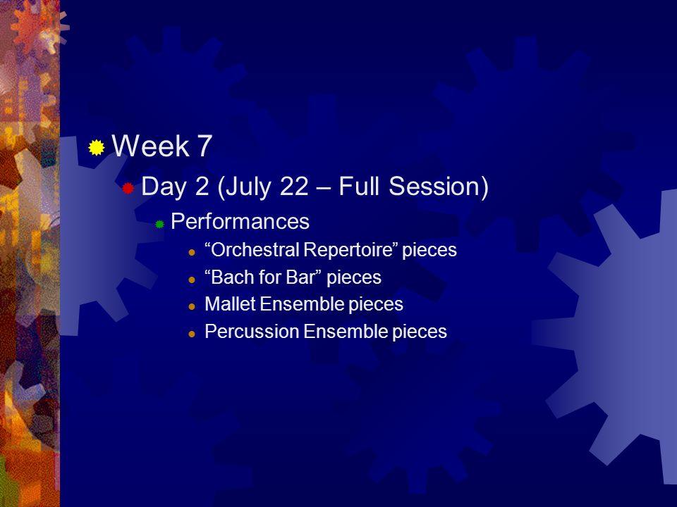 Drumline Summer Clinic Schedule  Week 1  Day 1 (June 8