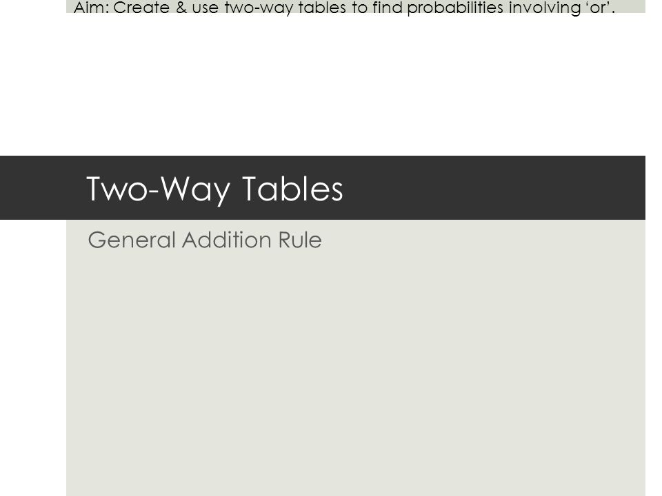 Two Way Tables General Addition Rule Aim Create Use Two Way