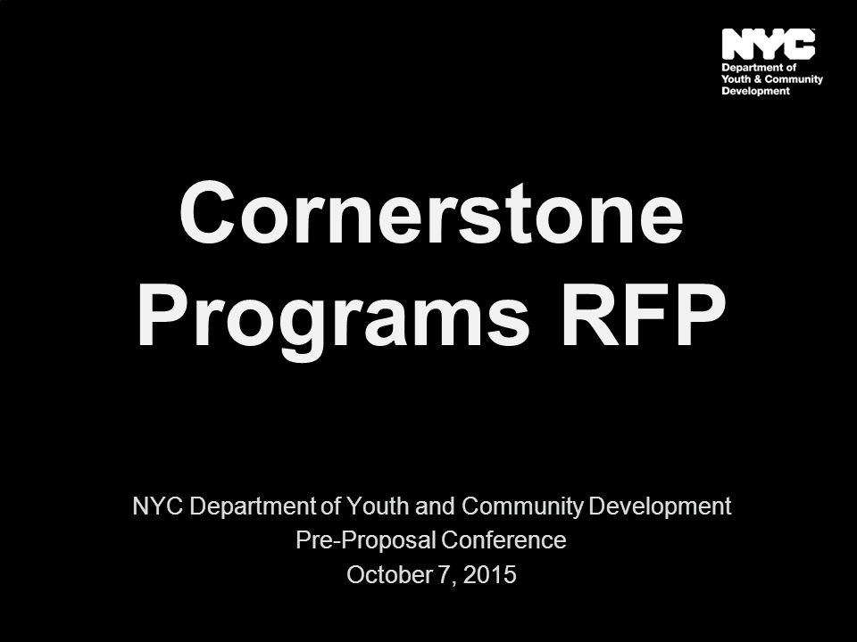 Cornerstone Programs RFP NYC Department of Youth and Community