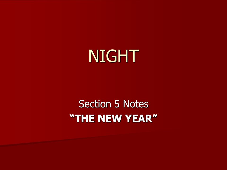 1 night section 5 notes the new year