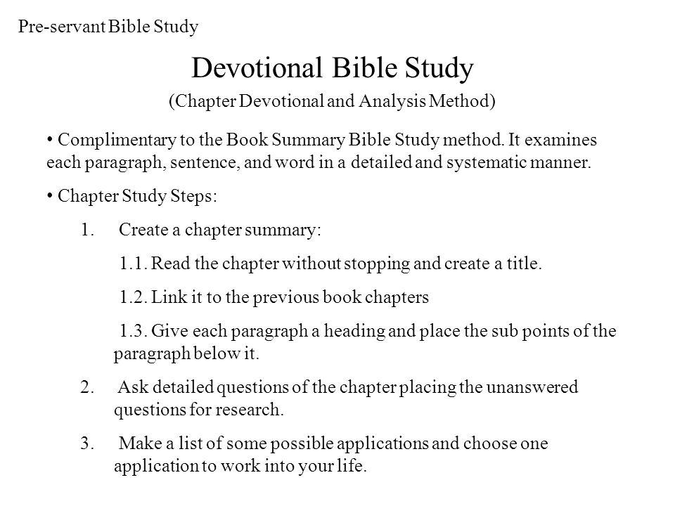 DEVOTIONAL BIBLE STUDY DB1: THE BOOK OF GENESIS Bible Study