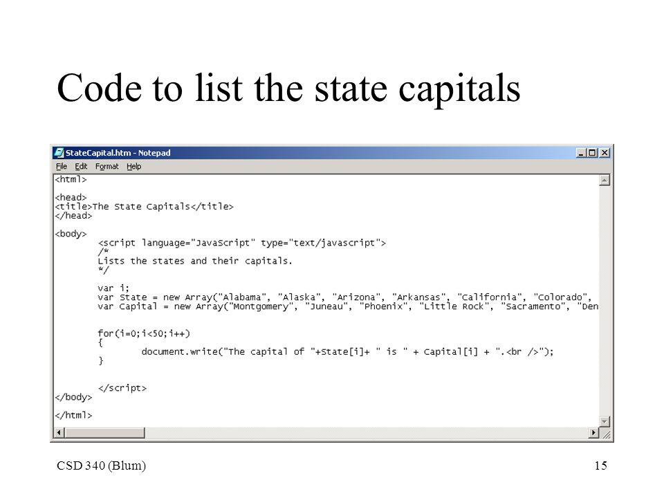 CSD 340 (Blum)1 Arrays See Beginning JavaScript pp ppt download