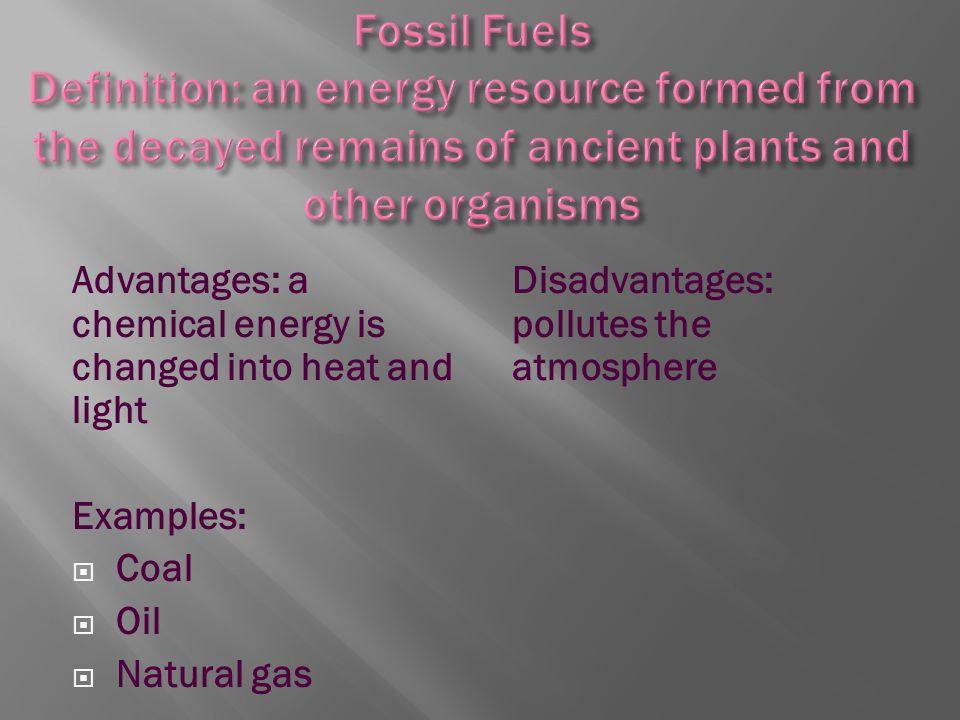 Examples Metals Arable Land Fossil Fuels Old Growth Forests Coal