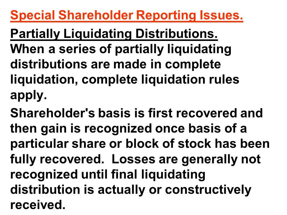 Liquidating distribution reporting