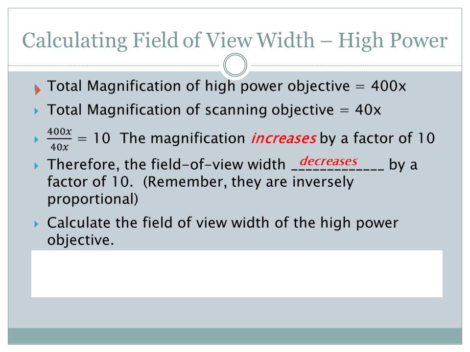 Magnification, Working Distance, Resolution and Field of View  - ppt