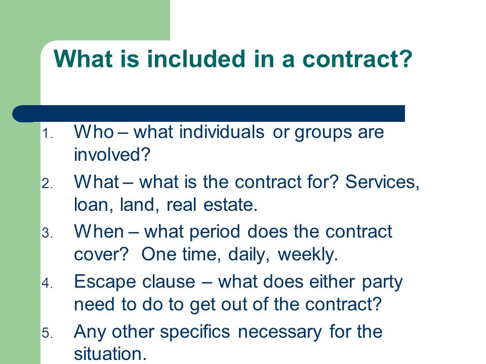Becoming Familiar With Contracts What Is The Definition Of A