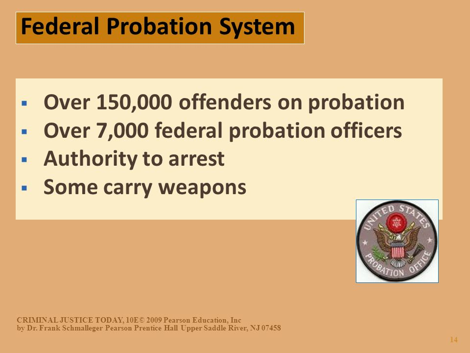 Over 150,000 Offenders On Probation  Over 7,000 Federal Probation Officers   Authority To Arrest