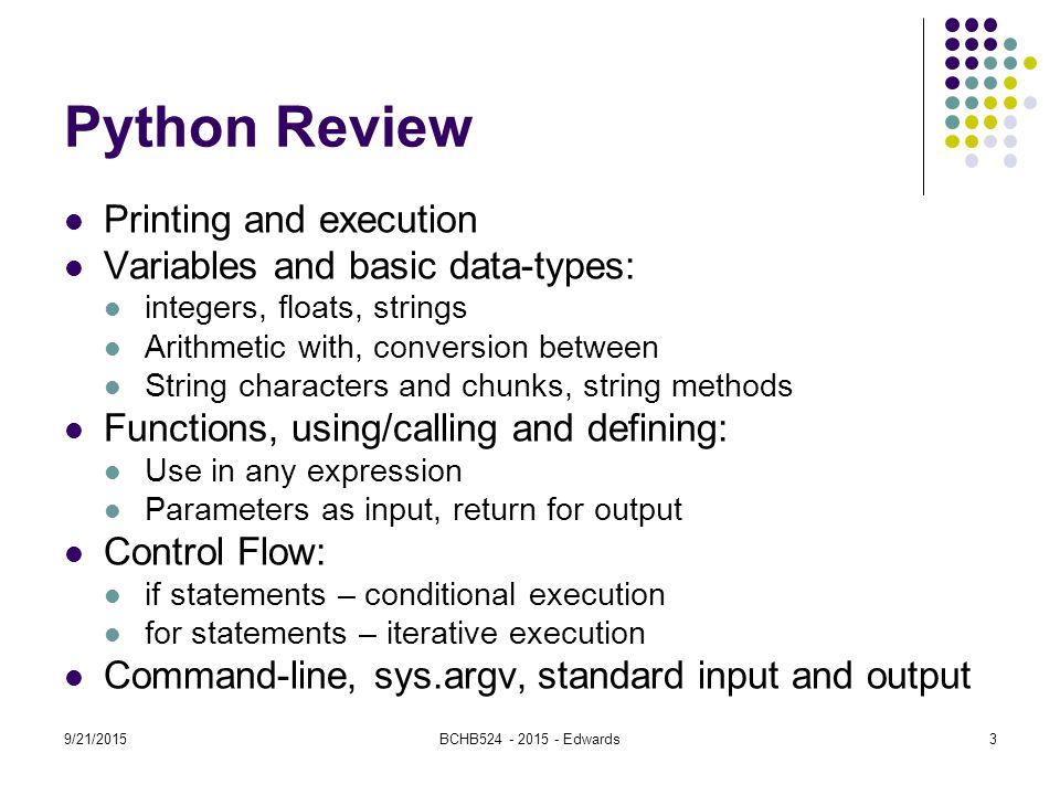 9/21/2015BCHB Edwards Python Data Structures: Lists BCHB