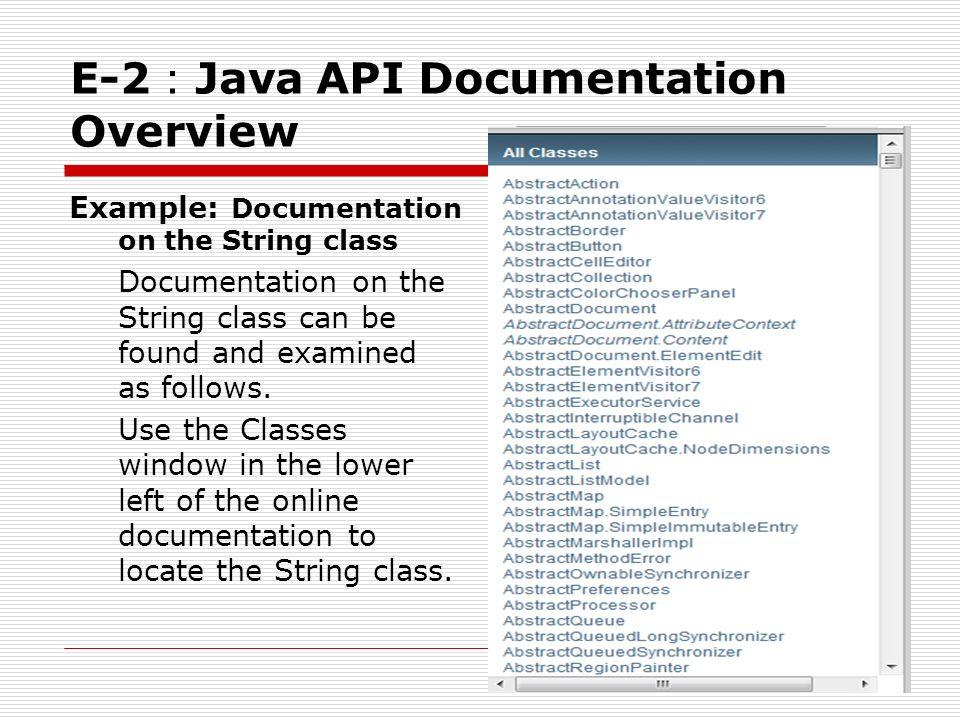 Appendix E Using the Java API Documentation 報告人:黃偉倫