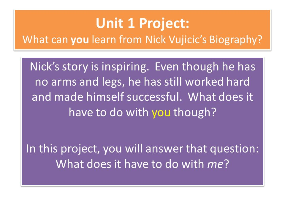 Unit  Project What Can You Learn From Nick Vujicics Biography  Unit  Project What Can You Learn From Nick Vujicics Biography Essays On Health also Family Business Essay  Research Proposal Essay Topics