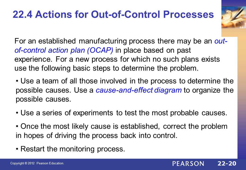 Copyright © 2012 Pearson Education. Chapter 22 Quality Control ...