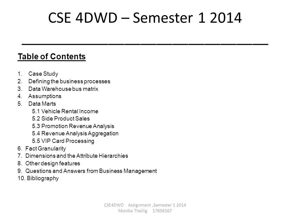 case study table of contents