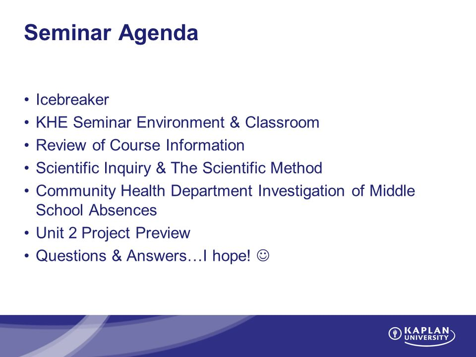 Welcome to Big Ideas in Science Unit 1 Seminar! Instructor