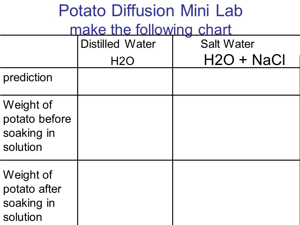 Potato Diffusion Mini Lab make the following chart Weight of potato before soaking in solution Weight of potato after soaking in solution Distilled WaterSalt Water H2O H2O + NaCl prediction