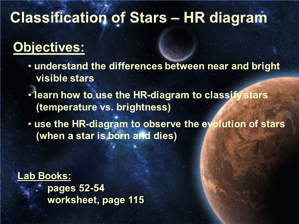 Classification of stars hr diagram objectives understand the classification of stars hr diagram objectives understand the differences between near and bright visible ccuart