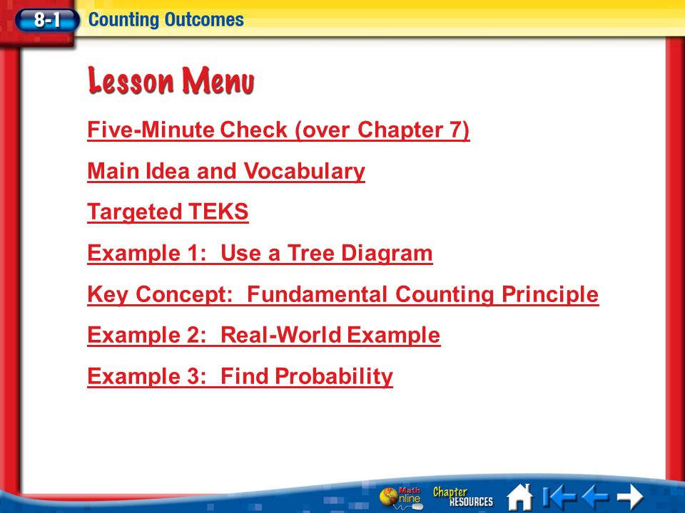 Lesson 1 menu five minute check over chapter 7 main idea and 1 lesson 1 menu five minute check over chapter 7 main idea and vocabulary targeted teks example 1 use a tree diagram key concept fundamental counting ccuart Images