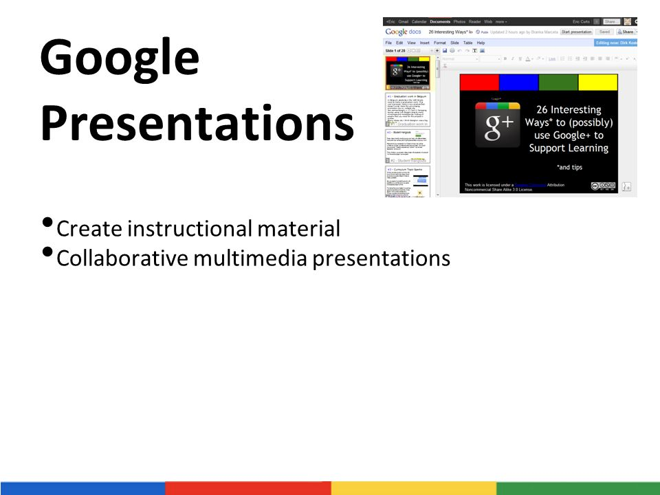 Google Presentations Create instructional material Collaborative multimedia presentations