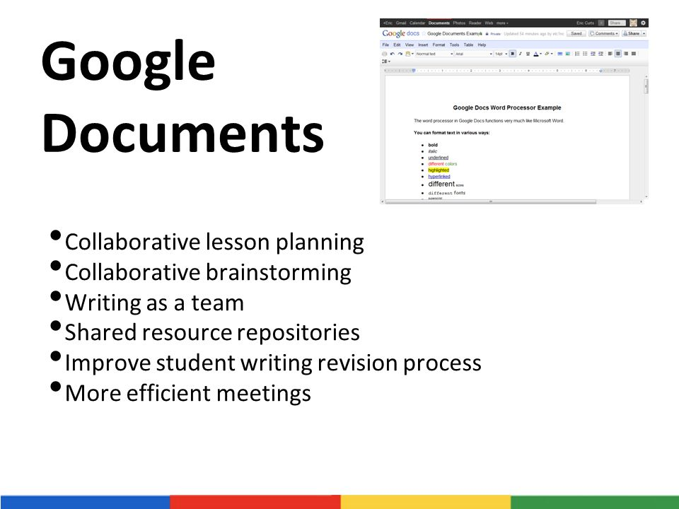 Google Documents Collaborative lesson planning Collaborative brainstorming Writing as a team Shared resource repositories Improve student writing revision process More efficient meetings