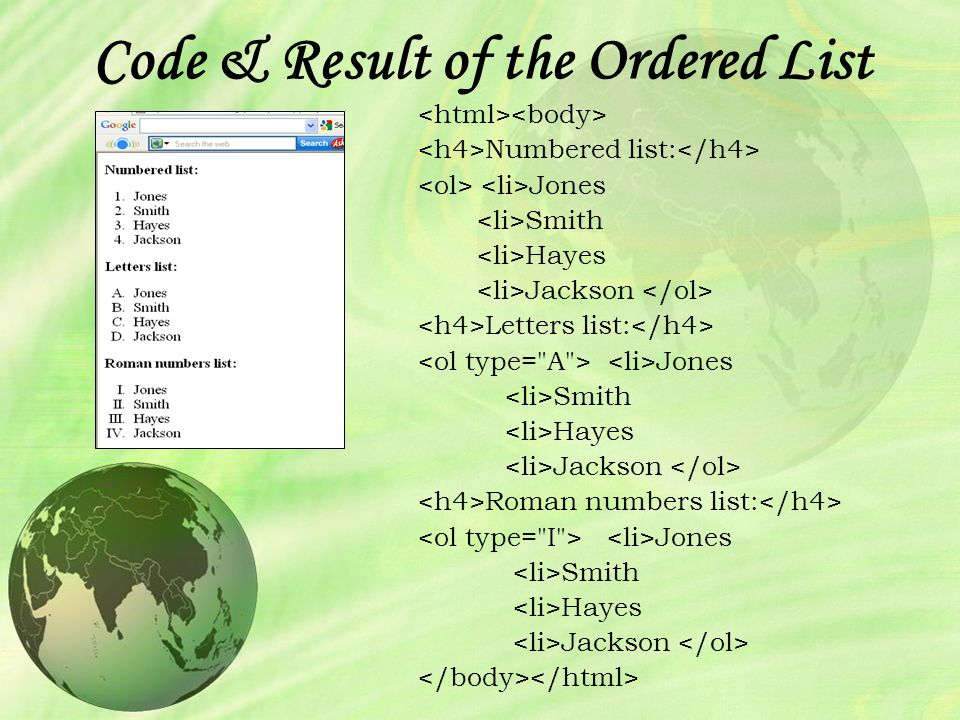 Html an introduction to web page programming introduction to html 29 code result of the ordered list numbered list jones smith hayes jackson letters list jones smith hayes jackson roman numbers list jones smith hayes spiritdancerdesigns Images