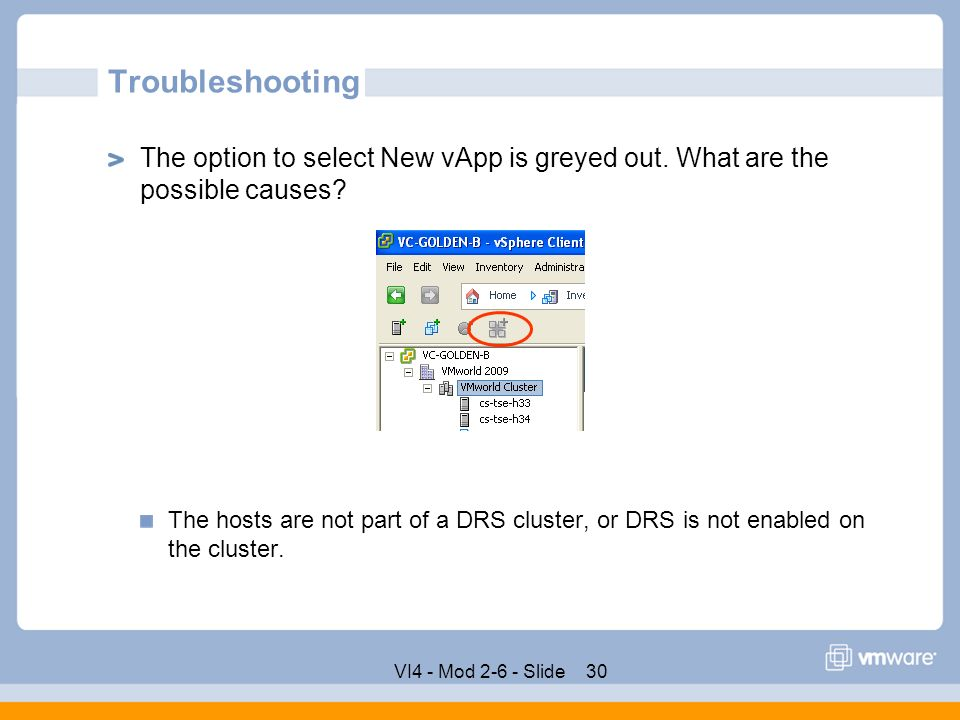 VApp Product Support Engineering Rev E VMware Confidential  - ppt