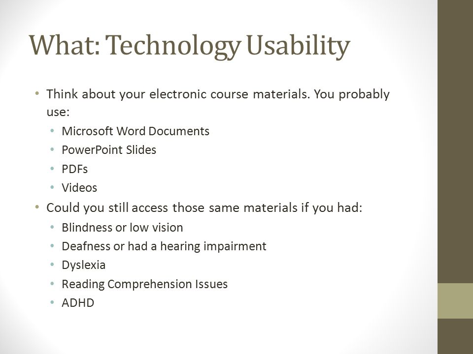 Technology-Delivered Content Accessibility for Student With