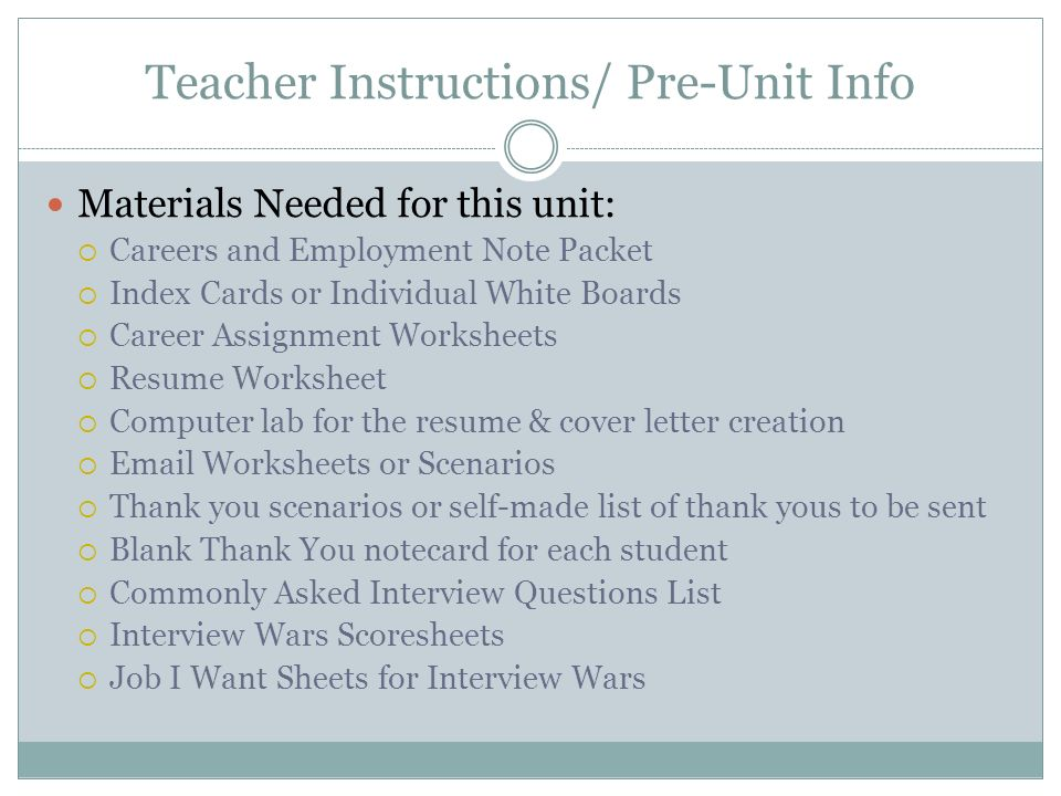 Teacher Instructions/ Pre-Unit Info Materials Needed for this unit ...