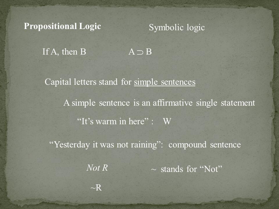 Propositional Logic Symbolic Logic If A Then B A B Capital