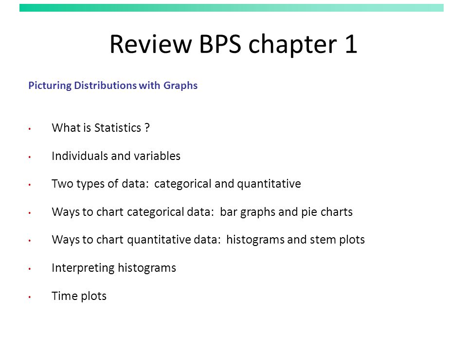 Review BPS chapter 1 Picturing Distributions with Graphs What is Statistics .