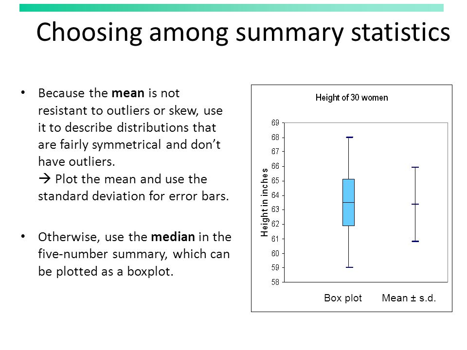 Choosing among summary statistics Because the mean is not resistant to outliers or skew, use it to describe distributions that are fairly symmetrical and don't have outliers.