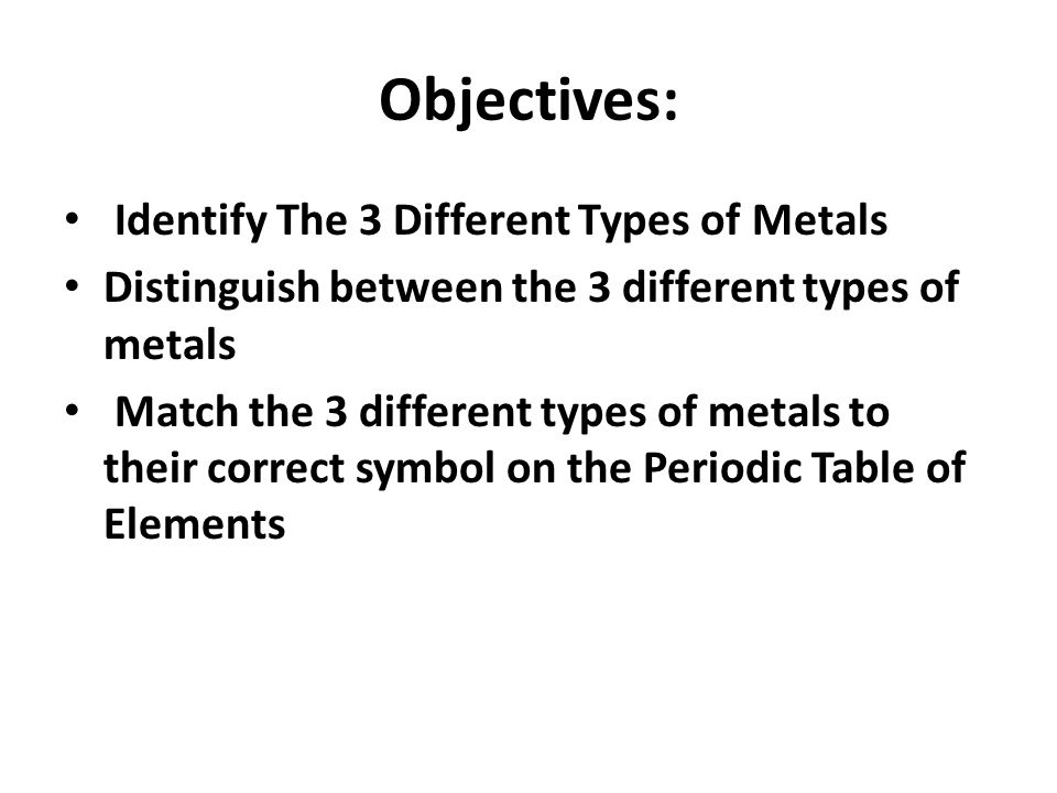 Aluminum copper brass whats the difference ppt download distinguish between the 3 different types of metals match the 3 different types of metals to their correct symbol on the periodic table of elements urtaz Gallery