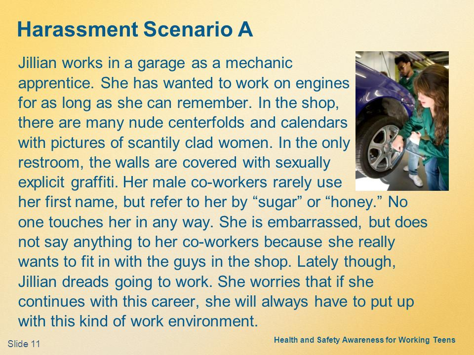 Sexual harassment scenarios in college
