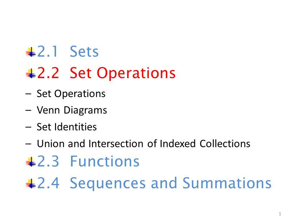 21 Sets 22 Set Operations Set Operations Venn Diagrams Set