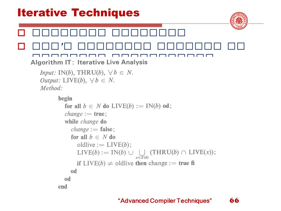 Advanced Compiler Techniques LIU Xianhua School of EECS, Peking