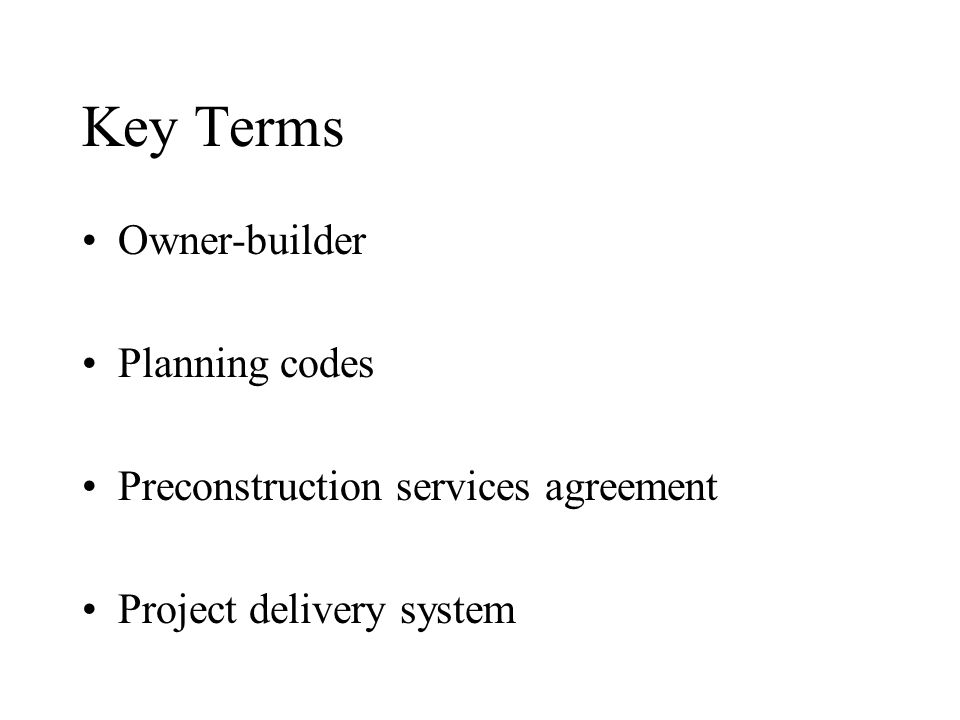 Chapter 2 The Construction Business Environment Key Terms Addenda