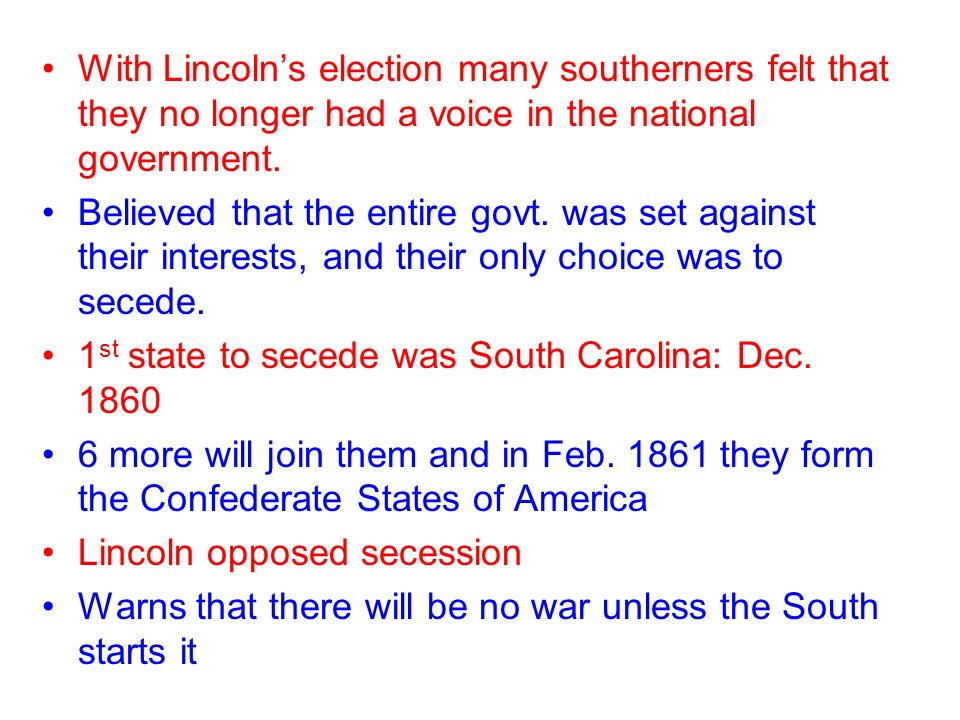 developments leading to the civil war 1848 1861 essay » see all civil war causes articles the northern and southern sections of the united states developed along different lines the burning issue that led to the disruption of the union was the debate over the future of slavery that dispute led to secession, and secession brought about a war.