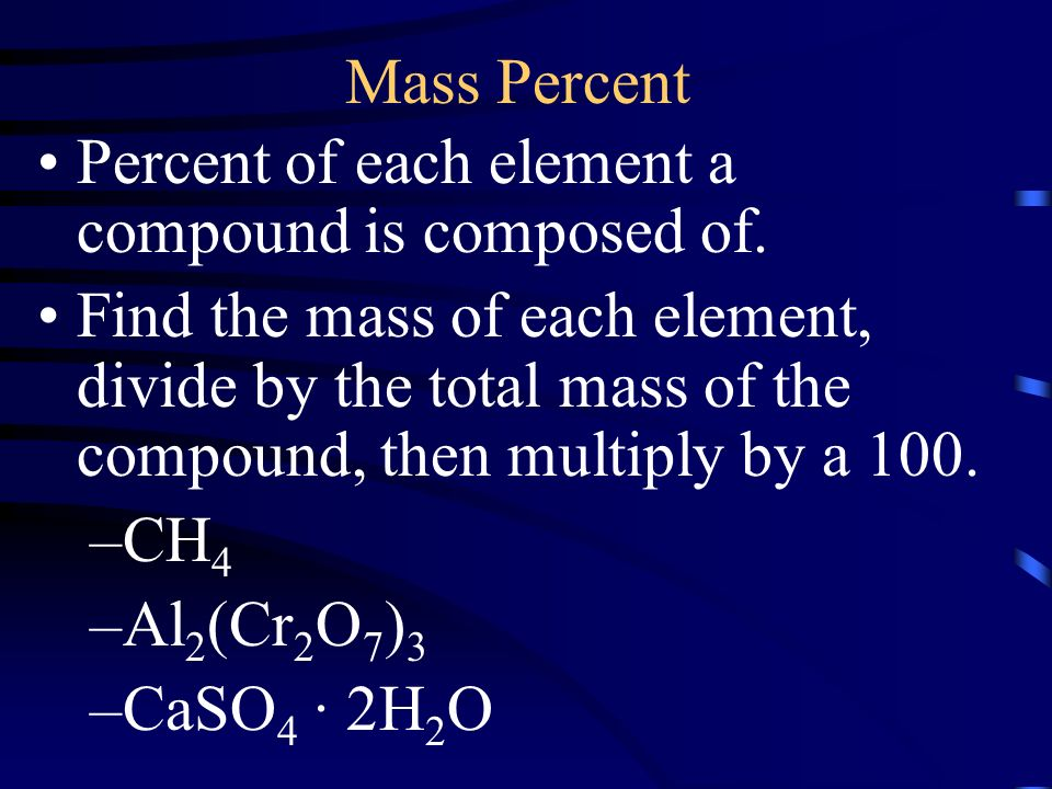 Mass Percent Percent of each element a compound is composed of.