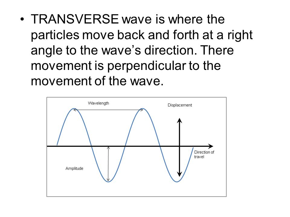 TRANSVERSE wave is where the particles move back and forth at a right angle to the wave's direction.
