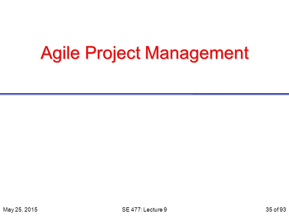 Agile Project Management May 25, 2015SE 477: Lecture 935 of 93