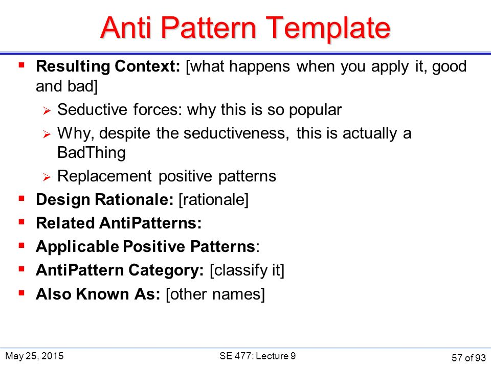 Anti Pattern Template  Resulting Context: [what happens when you apply it, good and bad]  Seductive forces: why this is so popular  Why, despite the seductiveness, this is actually a BadThing  Replacement positive patterns  Design Rationale: [rationale]  Related AntiPatterns:  Applicable Positive Patterns:  AntiPattern Category: [classify it]  Also Known As: [other names] May 25, 2015SE 477: Lecture 9 57 of 93