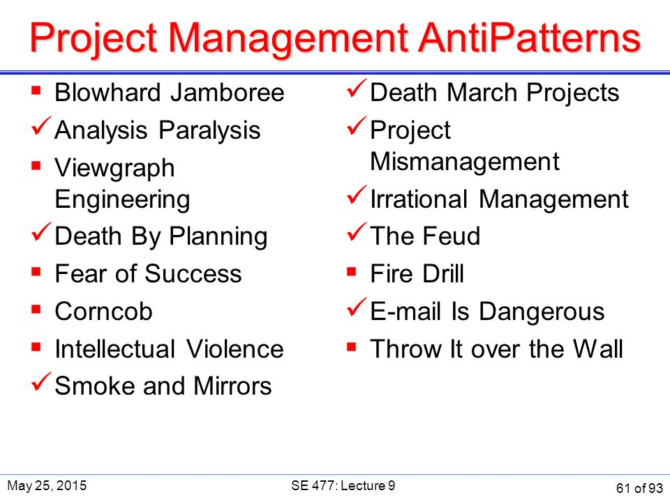 Project Management AntiPatterns  Blowhard Jamboree Analysis Paralysis  Viewgraph Engineering Death By Planning  Fear of Success  Corncob  Intellectual Violence Smoke and Mirrors Death March Projects Project Mismanagement Irrational Management The Feud  Fire Drill E-mail Is Dangerous  Throw It over the Wall May 25, 2015SE 477: Lecture 9 61 of 93