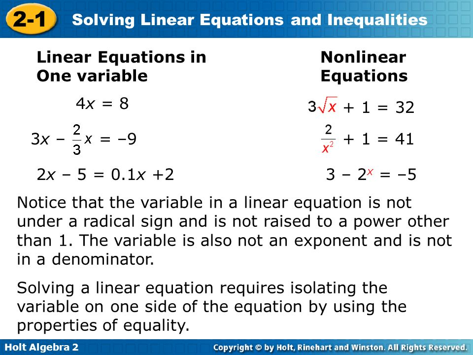 Holt Algebra Solving Linear Equations And Inequalities Section 21. Holt Algebra 2 21 Solving Linear Equations And Inequalities In One Variable. Worksheet. Solving Linear Inequalities With Variables On Both Sides Worksheet At Mspartners.co