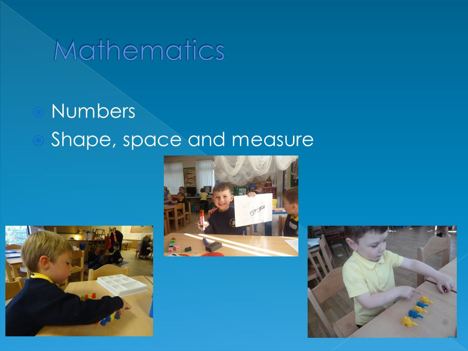  Numbers  Shape, space and measure