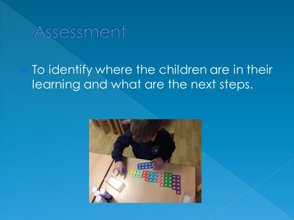  To identify where the children are in their learning and what are the next steps.