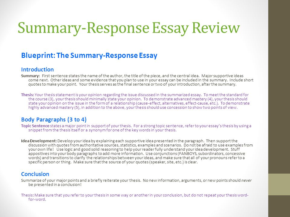 Wr An Introduction To College Writing Through Critical Reading A  Summaryresponse Essay Review Blueprint The Summaryresponse Essay  Introduction Summary First