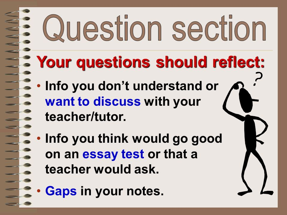Your questions should reflect: Info you don't understand or want to discuss with your teacher/tutor.