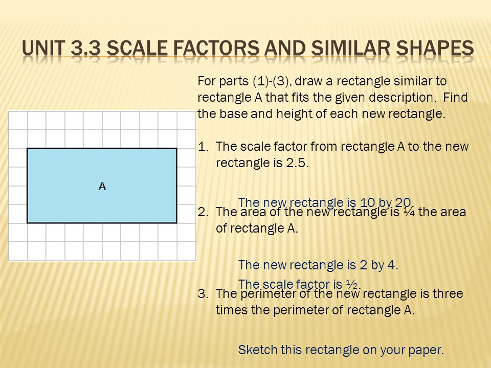 For parts (1)-(3), draw a rectangle similar to rectangle A that fits the given description.
