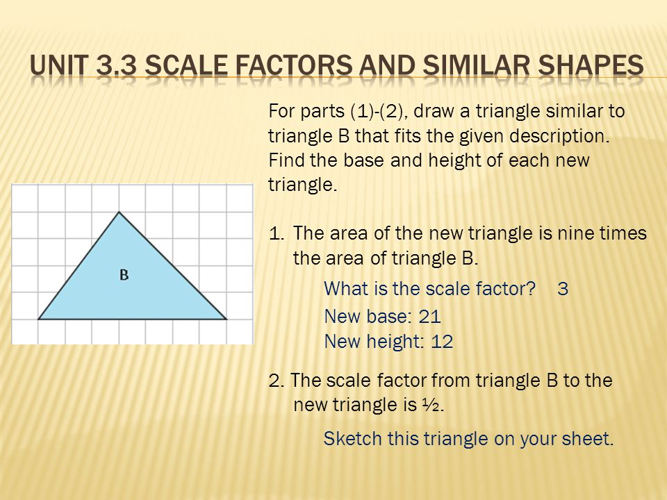 For parts (1)-(2), draw a triangle similar to triangle B that fits the given description.